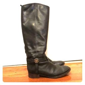 Tory Burch black leather riding boots